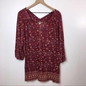 Lucky Brand Currant Red Bohemian Blouse, 3X